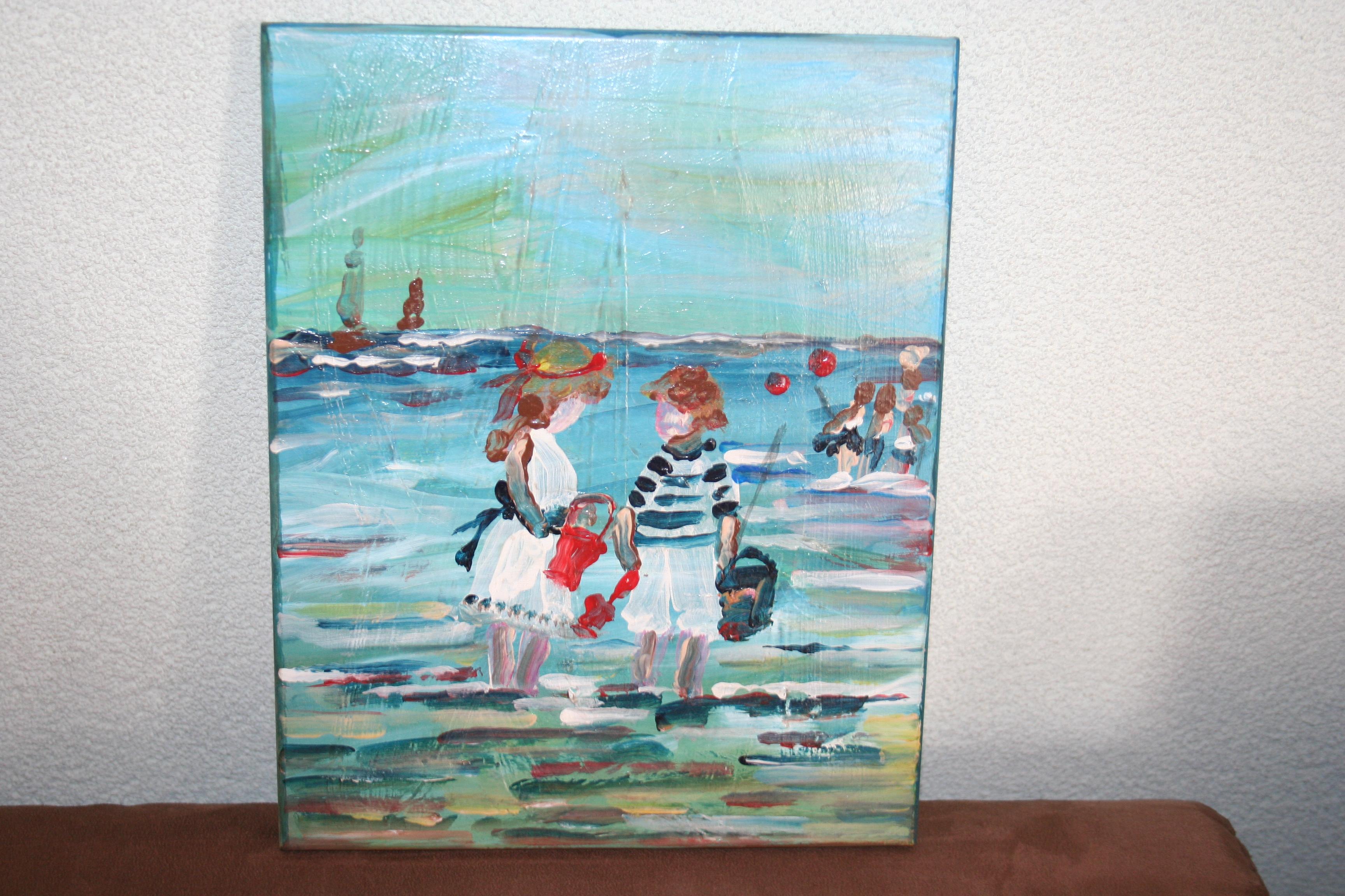 Beste Schilderij kinderen spelen aan zee | Citywall Trading IP-73