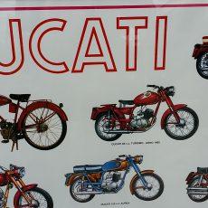 Vintage Ducati poster met Cucciolo en meer